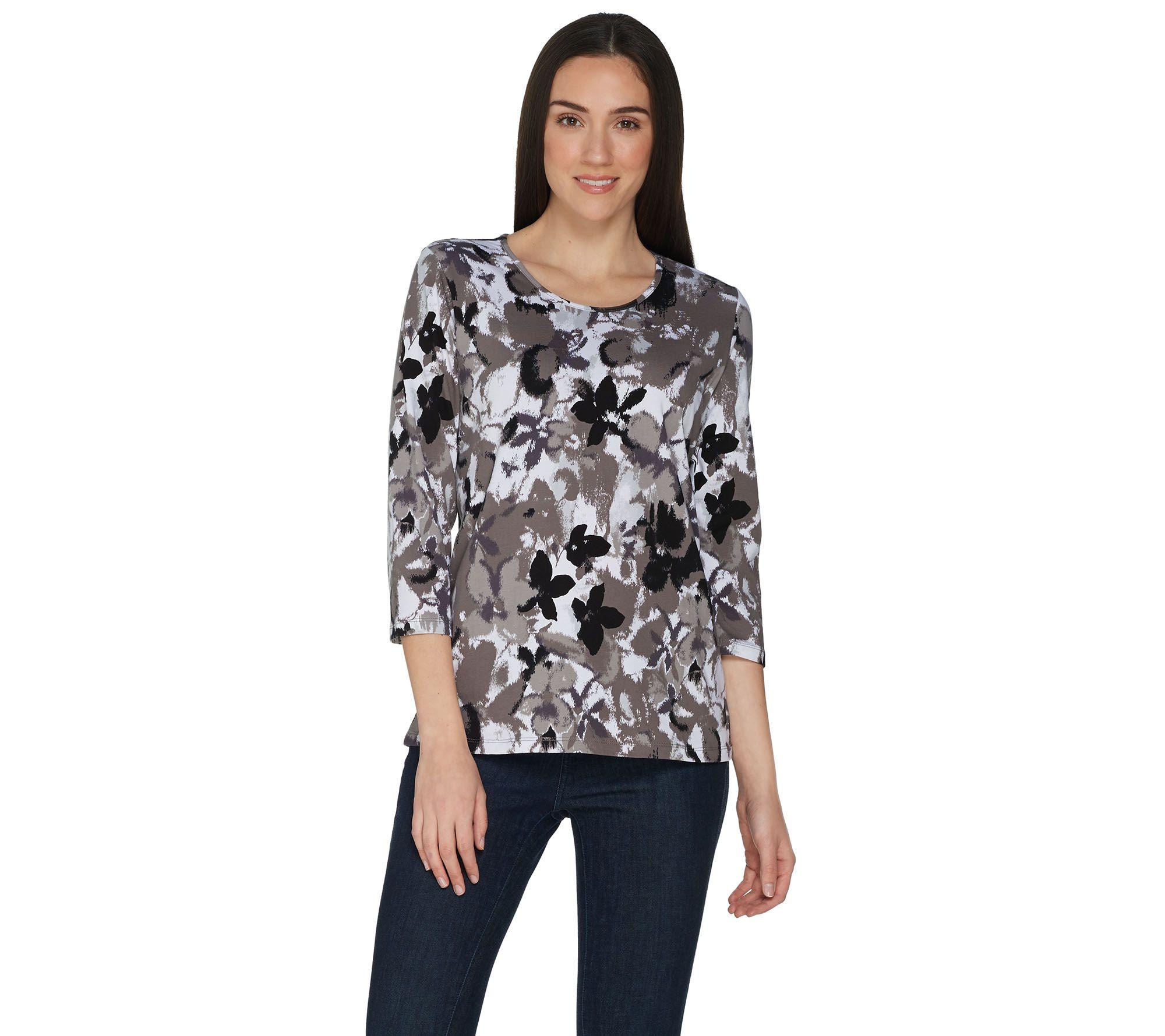 65de246339 Denim & Co. Perfect Jersey 3/4 Sleeve Watercolor Print Top - Page 1 —  QVC.com