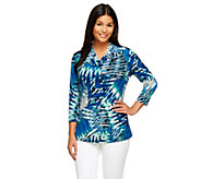Susan Graver Printed Liquid Knit 3/4 Sleeve Drape Neck Top - A255965