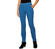 Denim & Co. Petite Slim Straight Leg Pull-On Jeans - A256865