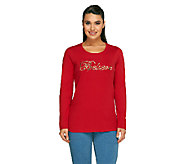 Quacker Factory Holiday Believe Round Neck Long Sleeve T-shirt - A260065