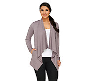 LOGO Lounge by Lori Goldstein French Terry Open Front Cardigan - A261065