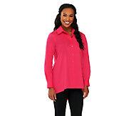 Susan Graver Woven Button Front Hi-Low Hem Shirt w/ Pocket - A261265