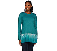LOGO Lounge by Lori Goldstein French Terry Top with Ombre Chiffon Hem - A269665
