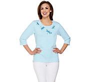 Quacker Factory Novelty Striped 3/4 Sleeve T-shirt - A273165