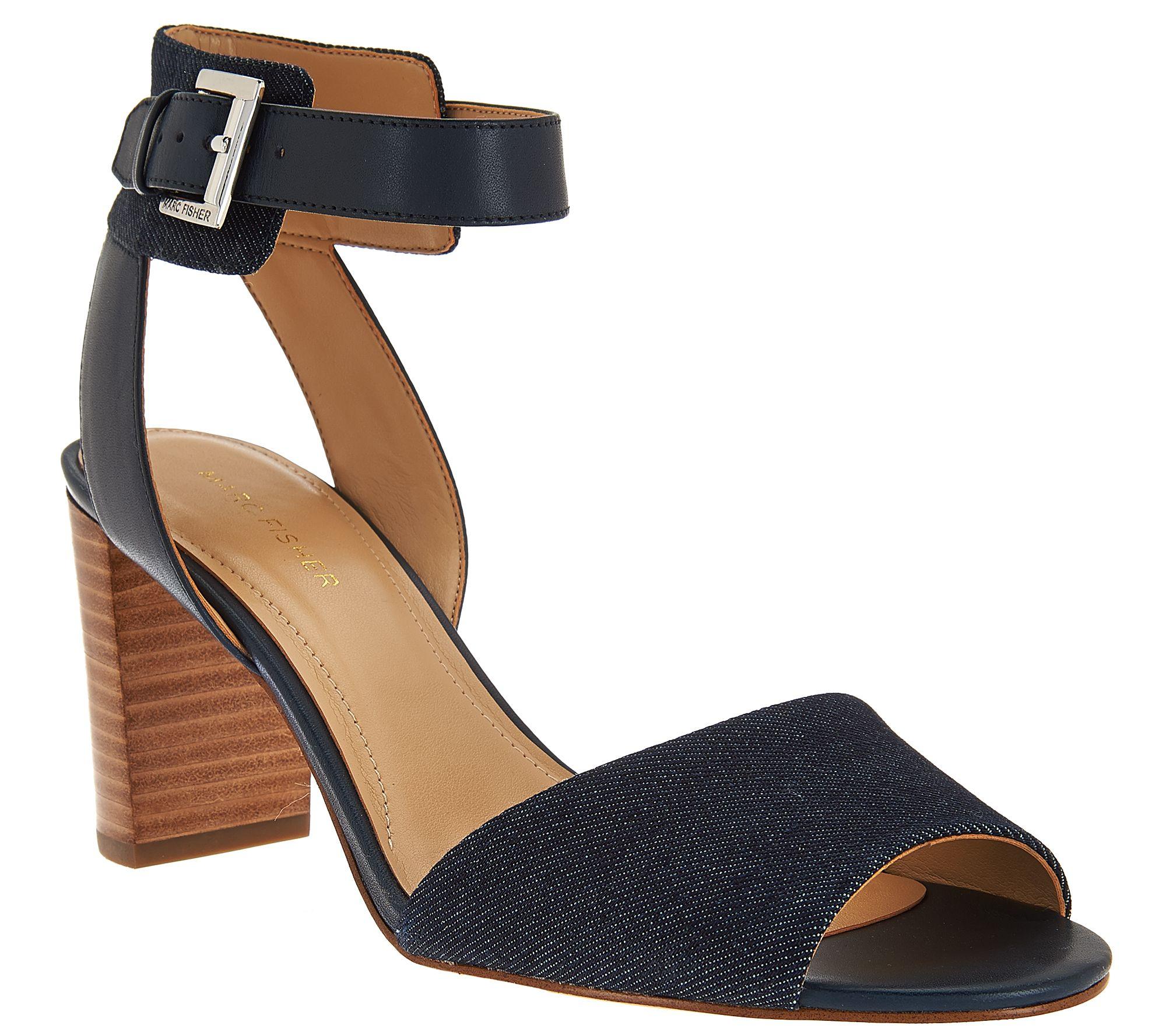 Marc Fisher Ankle Strap Block Heel Sandals - Genette — QVC.com