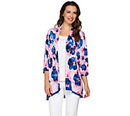 LOGO by Lori Goldstein Printed Knit Cardigan with Satin Trim - A274965