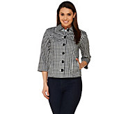 Joan Rivers 3/4 Sleeve Gingham Jacket - A276965