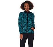 Susan Graver Rayon Nylon Jacquard Print Zip Front Sweater - A281165