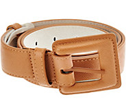 Isaac Mizrahi Live! Leather Lined Belt with Covered Buckle - A281765