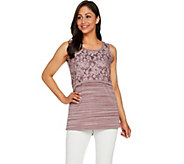 LOGO by Lori Goldstein Space Dye Tank with Cropped Lace Overlay - A288865