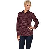 Susan Graver Polka Dot Stretch Woven Button Front Shirt - A294865
