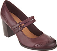 Clarks Leather Stacked Heel Mary Janes - Claeson Tilly - A300065
