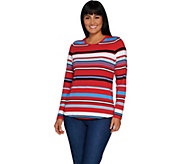 Denim & Co. Active Striped Knit Top with Curved Hemline - A300765