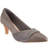 Clarks Leather and Nubuck Pointy Toe Pumps - Linvale Vena - A310065