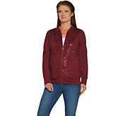 As Is Quacker Factory Sequin Swirl Zip Front French Terry Bomber Jacket - A310365