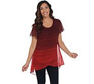 H by Halston Petite Ombre Printed Chiffon Overlay Short Sleeve Tunic - A311465