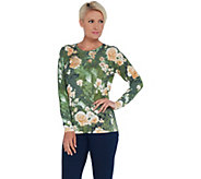 Quacker Factory Floral Printed Knit Pullover with Sequin Embellishment - A341765