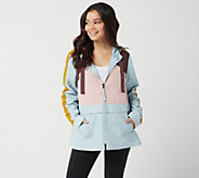 LOGO by Lori Goldstein Color Blocked Woven Jacket - A347465