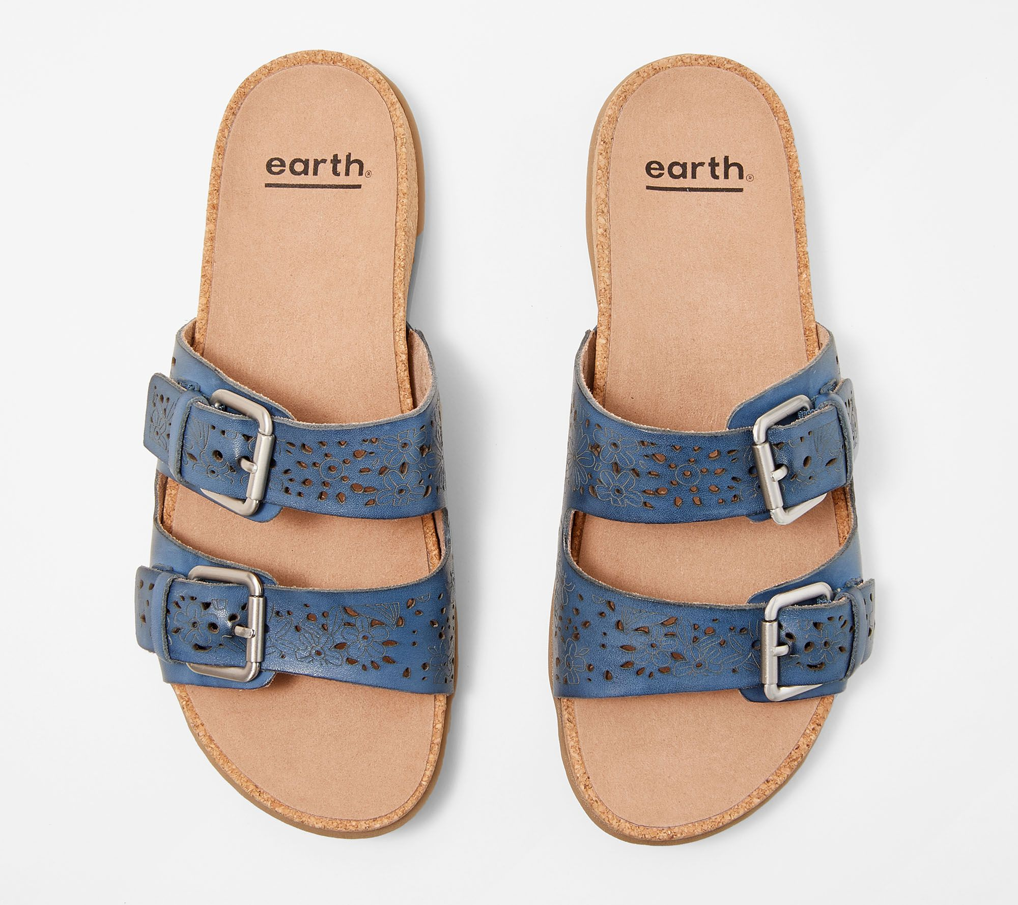 7fef4827f Earth Perforated Leather Slide Sandals- Sand Antigua - Page 1 — QVC.com