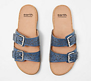 Earth Perforated Leather Slide Sandals- Sand Antigua - A349865