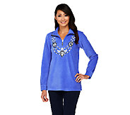 Bob Mackies Embellished Neckline Fleece Pullover - A261166