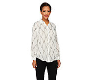 Susan Graver Printed Sheer Chiffon Hi-Lo Hem Button Front Shirt - A261266