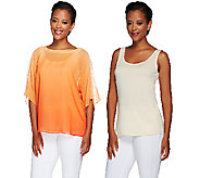 Susan Graver Artisan Ombre Sheer Dolman Sleeves Chiffon Top with Tank - A265866