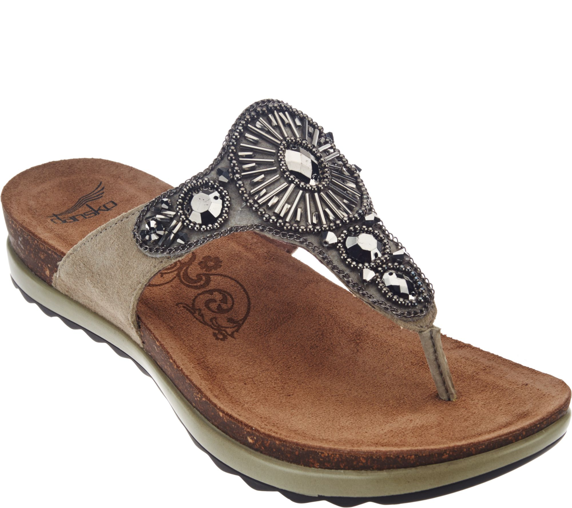 6a04202d8a14 Dansko Leather Embellished Thong Sandals - Pamela - Page 1 — QVC.com