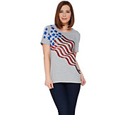Quacker Factory Stars and Stripes Sequin Short Sleeve T-shirt - A275266