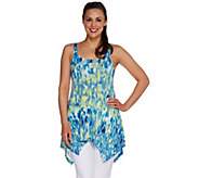 LOGO Layers by Lori Goldstein Printed Tank w/Handkerchief Hem - A276966