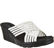 Skechers Cross-Band Slide Wedge Sandals - Star Light - A287766