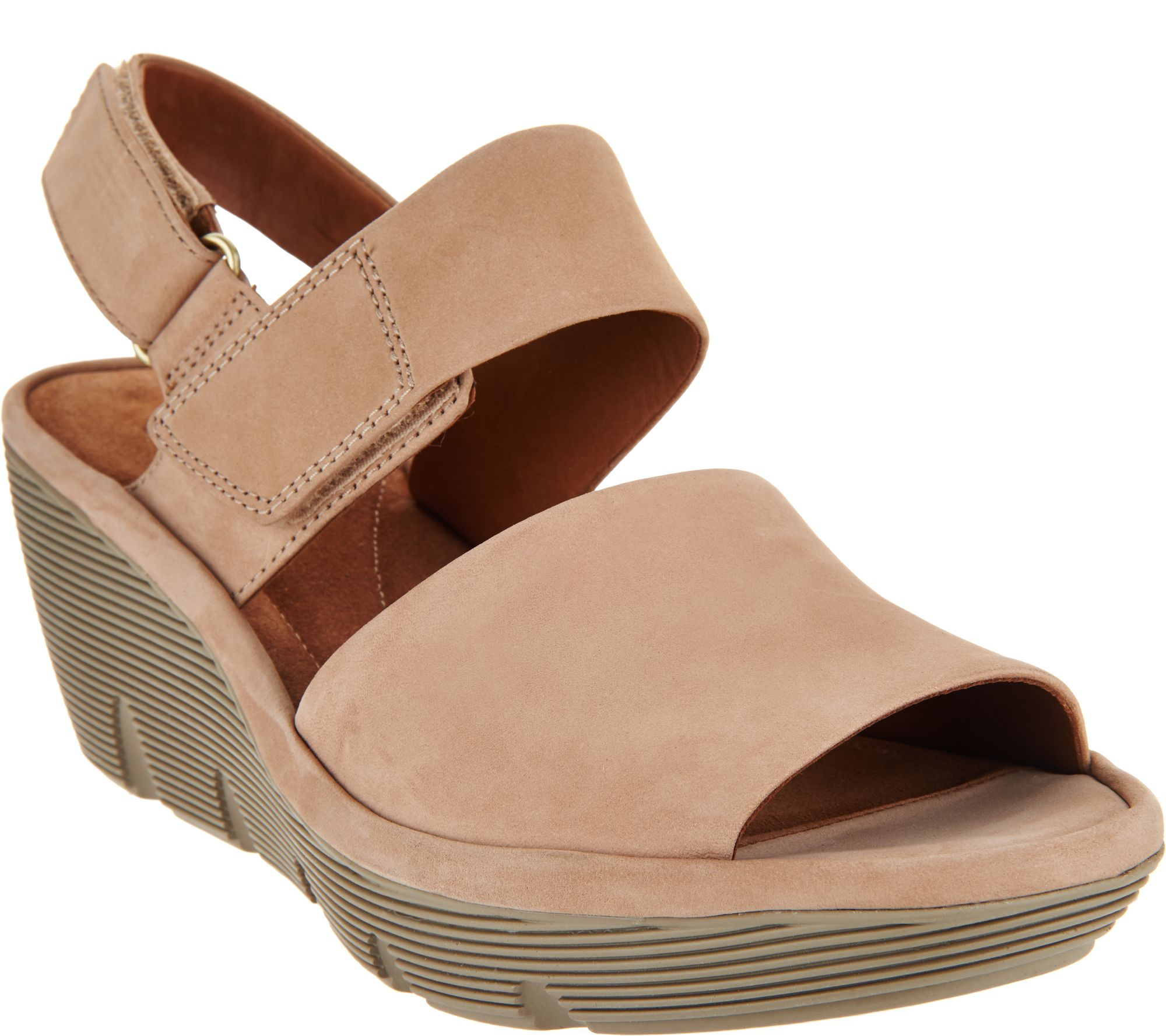 61710b3bbff Clarks Artisan Leather Wedge Sandals - Clarene Allure - Page 1 — QVC.com