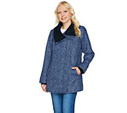 As Is Isaac Mizrahi Live! SOHO Zip Front Coat w/Sweater Knit Trim - A291366