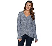 Peace Love World Reversible Cross-Over Marled Sweater - A294966
