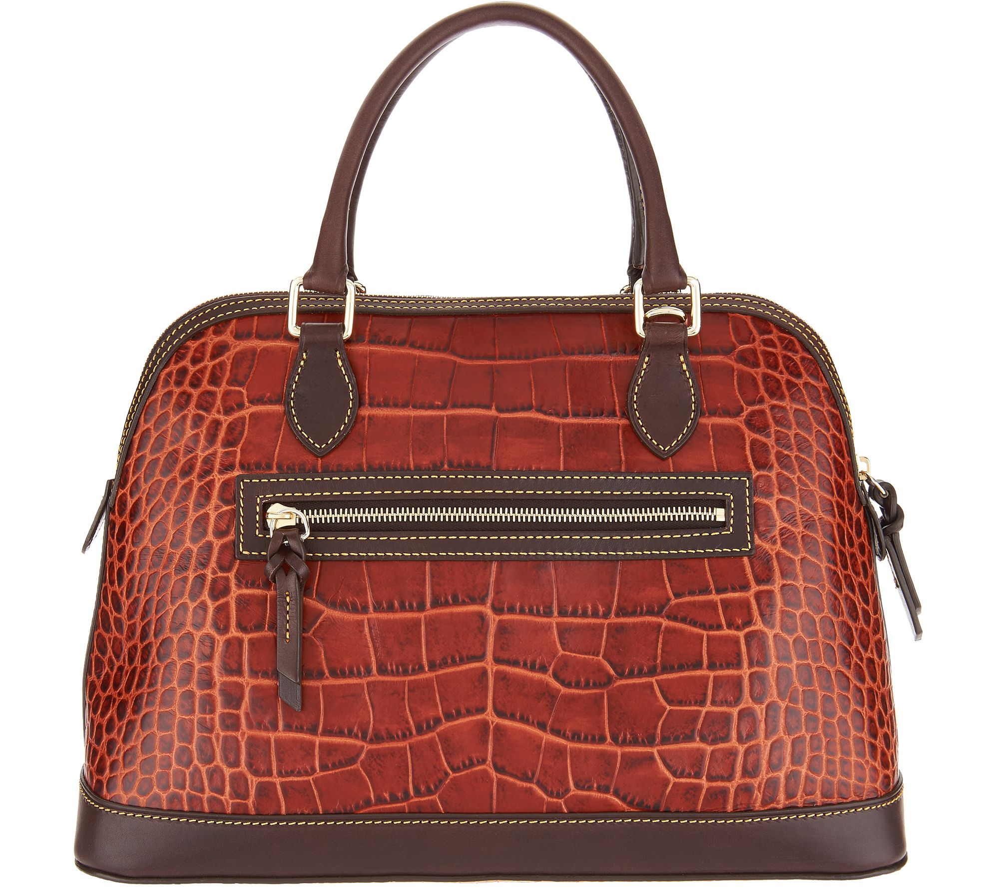 7446622971a3 Dooney   Bourke Croco Leather Deana Satchel Handbag - Page 1 — QVC.com
