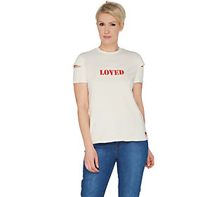 Peace Love World Cold Shoulder Raw Edge KnitTop