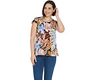 Susan Graver Printed Liquid Knit Extended Sleeve Top - A304066