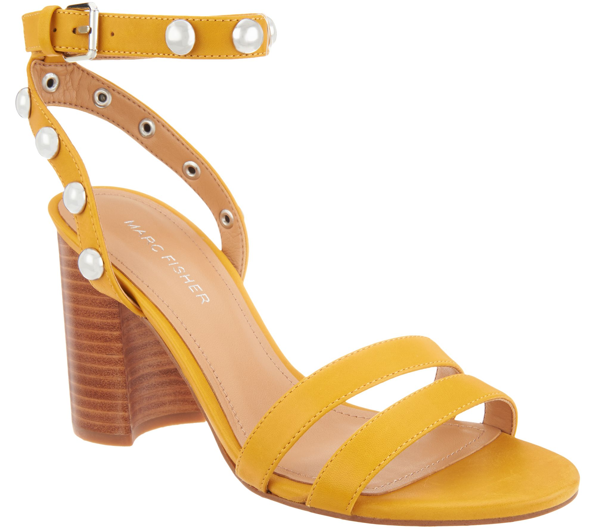 111f1fd71a58fc Marc Fisher Embellished Leather Heeled Sandals - Lantern — QVC.com
