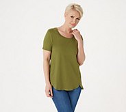 Isaac Mizrahi Live! Essentials Pima Cotton Tunic with Tulip Hem - A307566