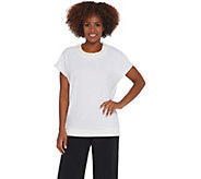 BROOKE SHIELDS Timeless Short- Sleeve Knit Top w/ Embellished Neckline - A341966