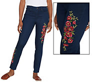 As Is Martha Stewart Petite Embroidered 5-Pocket Ankle Jeans - A347566