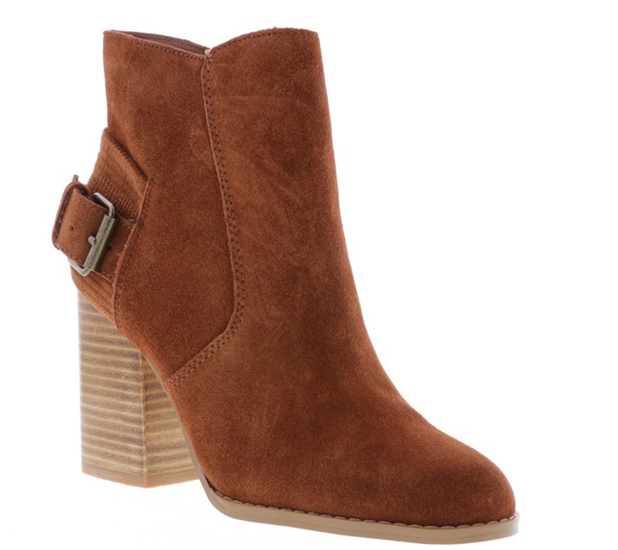 aa7847041d1 Sbicca Back Buckle Block Heel Booties - Fletcher — QVC.com