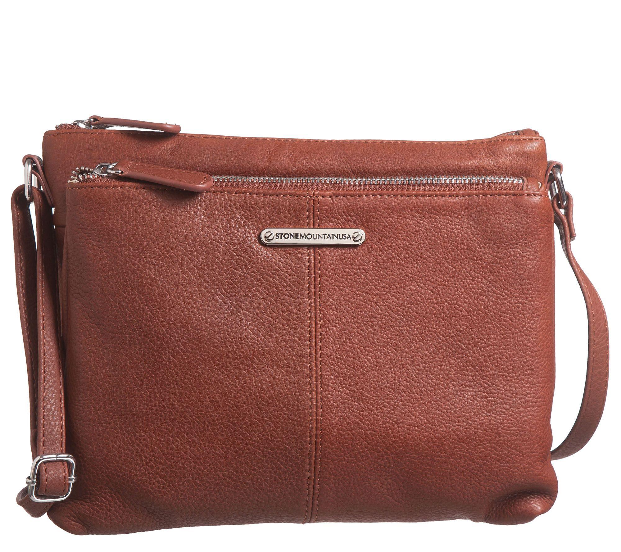 923c2fd560b02c Stone Mountain USA Butter Leather Two-Pocket Crossbody Bag — QVC.com