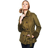 Isaac Mizrahi Live! Double Breasted Faux Fur Trench Jacket - A217467