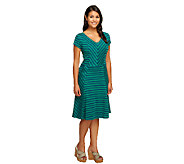 Isaac Mizrahi Live! Striped V-Neck Knit Dress - A255667