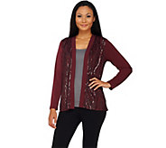 Bob Mackies Open Front Knit Jacket with Waterfall Sequin Front - A269567