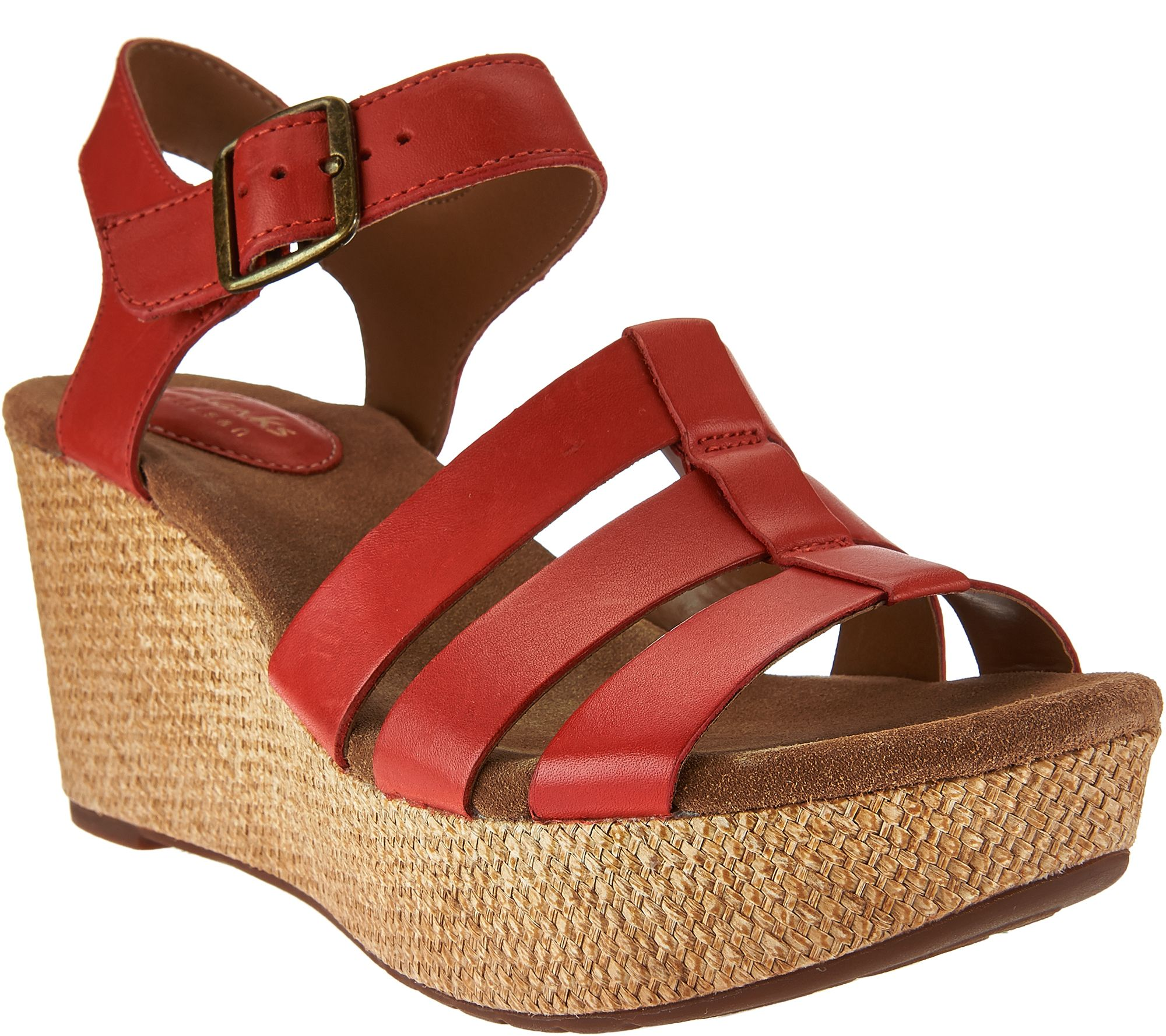 e049d502763 Clarks Artisan Leather Multi-strap Wedges - Caslynn Harp - Page 1 — QVC.com