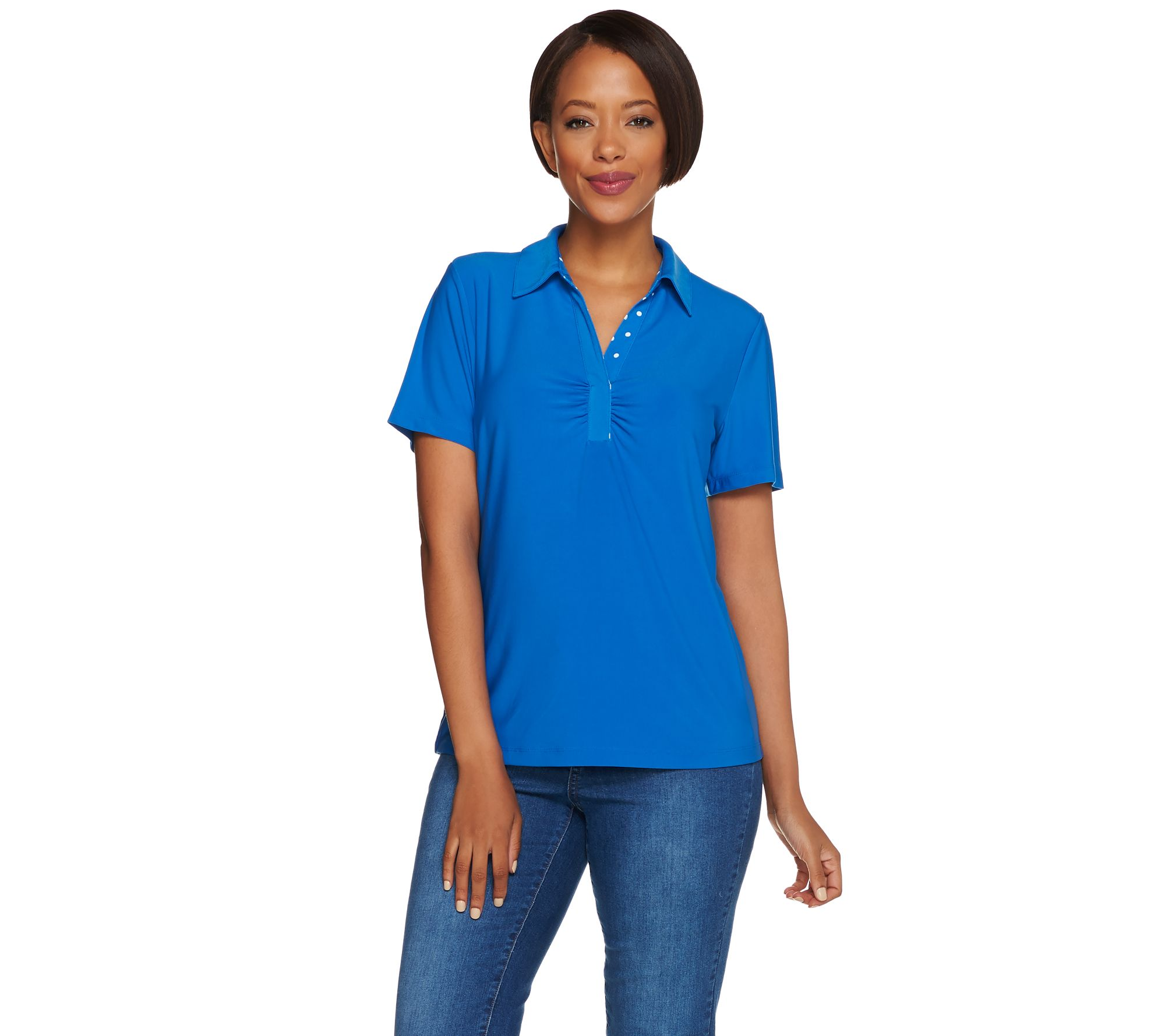 e5979e9d0 Susan Graver Liquid Knit Short Sleeve Polo Shirt with Print Trim - Page 1 —  QVC.com