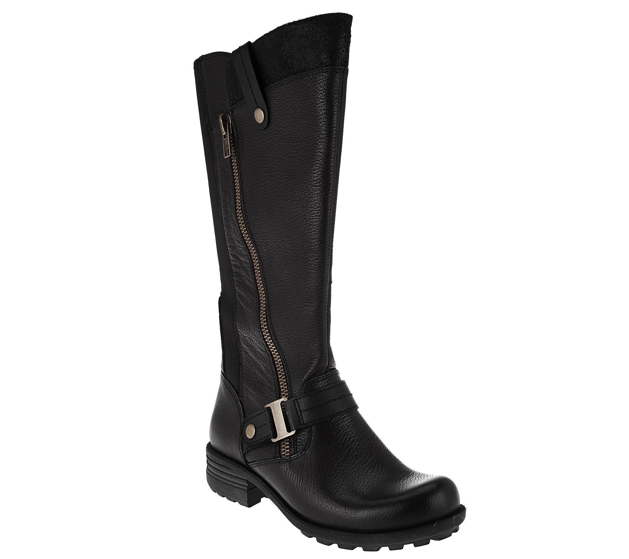 b39cfcc5d5d Earth Origins Leather Medium Calf Tall Boots - Portia — QVC.com