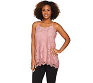 LOGO by Lori Goldstein Scalloped Lace Camisole with Solid Underlay - A288267